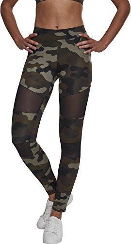 Urban Classics Ladies Camo Tech Mesh Sport Leggings, lange Damen Fitnesshose mit halbtransparenten Einsätzen - Farbe woodcamo/black, Größe M