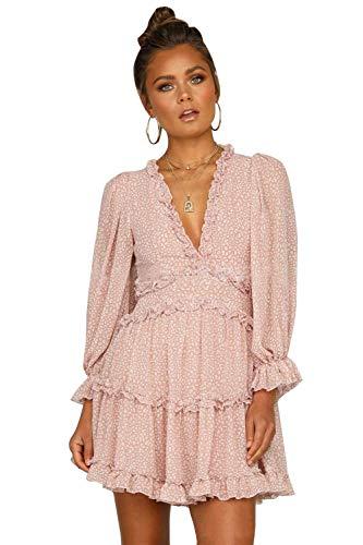 Damen Sommerkleid Böhmisch Kleider Puff Ärmel A-Linie Flora Minikleid Strandkleid Blumenkleid Pink L
