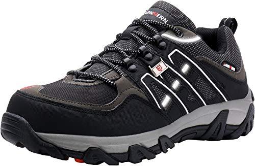 LARNMERN Sicherheitsschuhe Arbeitsschuhe Herren, Sicherheit Stahlkappe Stahlsohle Anti-Perforations Luftdurchlässige Schuhe, Schwarz L1032, 41 EU