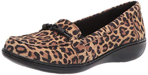 Clarks Damen Women's Ashland Ballot-Tan Leopard Suede-6.5W Slipper, Hellbraunes Leopardenmuster, 37 EU