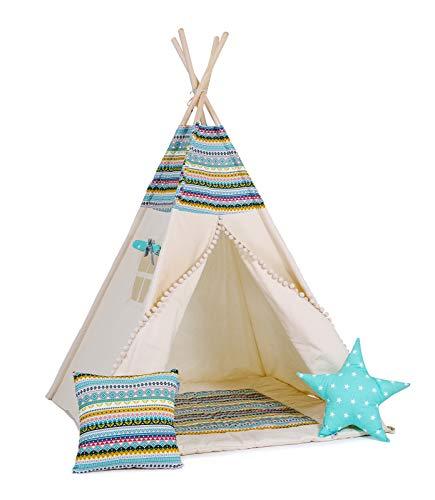Golden Kids Kinder Spielzelt Teepee Tipi Set für Kinder drinnen draußen Spielzeug Zelt Indianer Indianertipi Tipi mit & ohne Zubehör (mit Zubehör (klein), Apache)