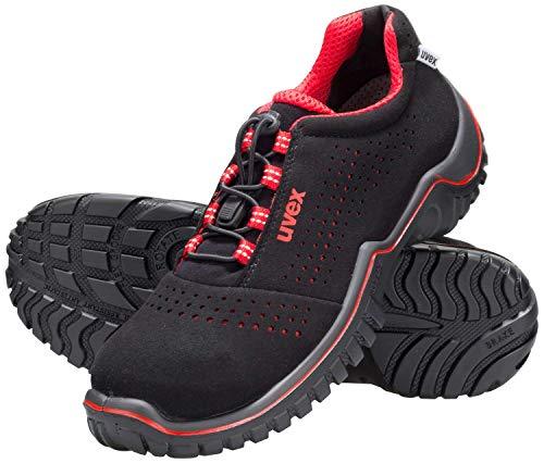 Uvex Motion Style - Sicherheitsschuhe S1 SRC ESD - Rot-Schwarz, Größe:45