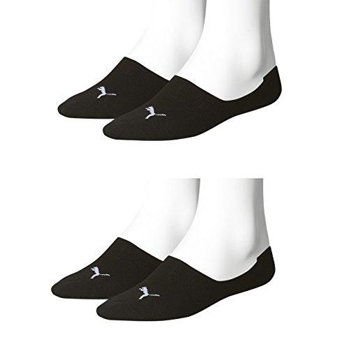 PUMA Unisex Invisible Footie Sport Socken Sportsocken 4er Pack (43-46, Black)