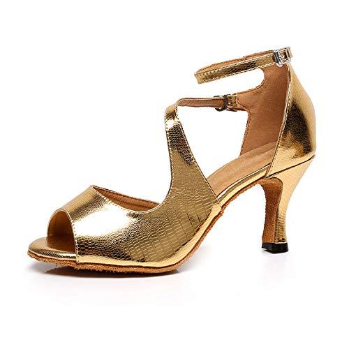Tanzschuhe Standard und Latein Damen - Fersen Geschlossene Zehen Salsa Party Ballsaal Jazz,Gold(heel:7.5cm),38EU