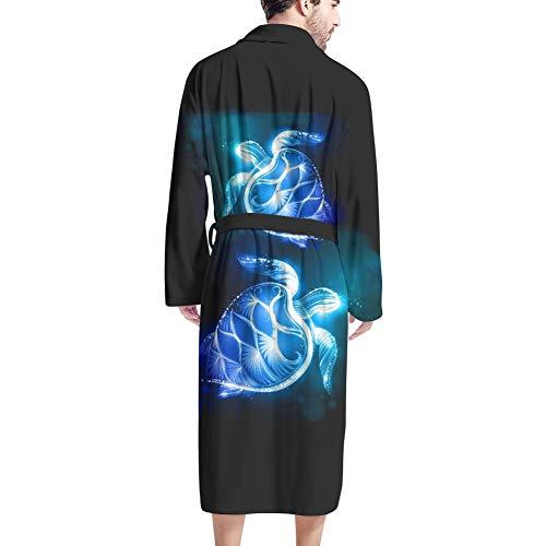 UOIMAG Herren-Bademäntel mit Tasche, gemütlicher Nachtwäsche, Bademantel Geschenk für Männer Gr. Einheitsgröße, sea turtle