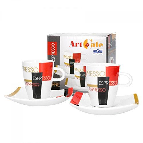 Van Well Porzellan 2er Set Geschirr Serie Art Cafe | modernes Pop Art Dekor | Artikel wählbar, Serie Art Cafe:Espressotasse + Untertasse