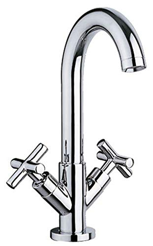 Design Bad Kreuzgriff Waschtisch Waschbecken Wasserhahn Armatur Chrom Sanlingo