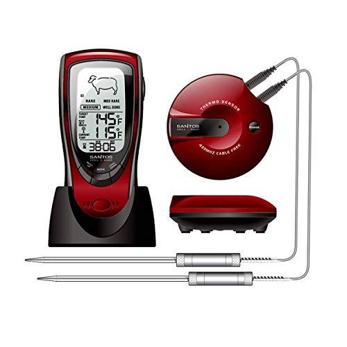 SANTOS BBQ-Thermometer, digitales Funkthermometer zur Überwachung der Kerntemperatur von Fleisch, Neuheit 2019, Nachfolger des mehrfachen Testsiegers