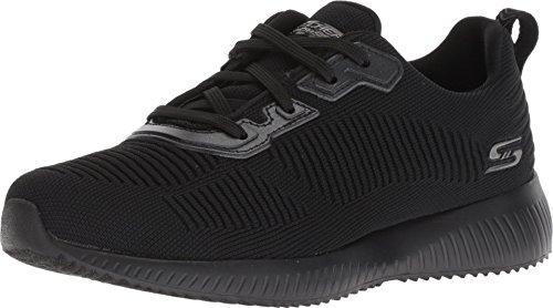 Skechers BOBS SQUAD - TOUGH TALK-32504 Sneaker Damen, Schwarz (Black Engineered Knit Trim Bbk), 39 EU