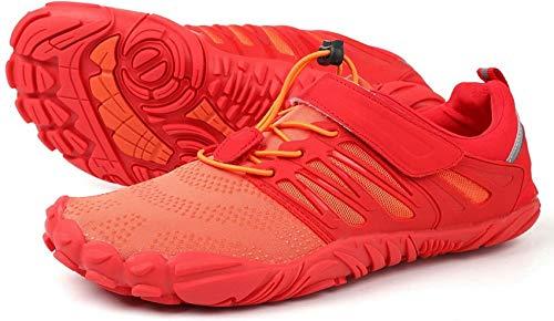 WHITIN Herren Damen Traillaufschuhe Minimalistische Barfußschuhe 5 Five Finger Zehenschuhe Fivefinger Trail Laufschuhe Fitnessschuhe Fitness für Männer Trainer Training Orange Rot Größe 36