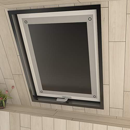 Eurohome Thermo Dachfenster Rollo ohne Bohren Sonnenschutz Verdunkelungsrollo mit Saugnäpfen für Velux Fenster Schwarz 96 x 115 cm