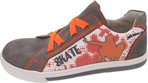Sneaker, Lederschuhe, Däumling Kinderschuhe, sportliche Schuhe, grau-orange, Gr. Mittel 31