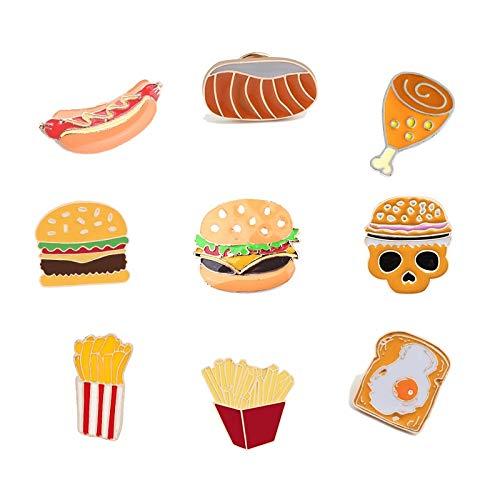 ZSCZQ Lustiges Abzeichen Fast Food Brosche Pins Hot Dog Pizza Toast Broschen für Kinder Emaille Anstecknadel Cartoon Schmuck Geschenk Hamburger