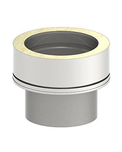 Schornstein Übergangselemet von einwandig EW (0,6mm - 1,0mm Wandstärke) auf doppelwandig DW (25mm Isolierung); Ø 150mm Innendurchmesser, Edelstahl