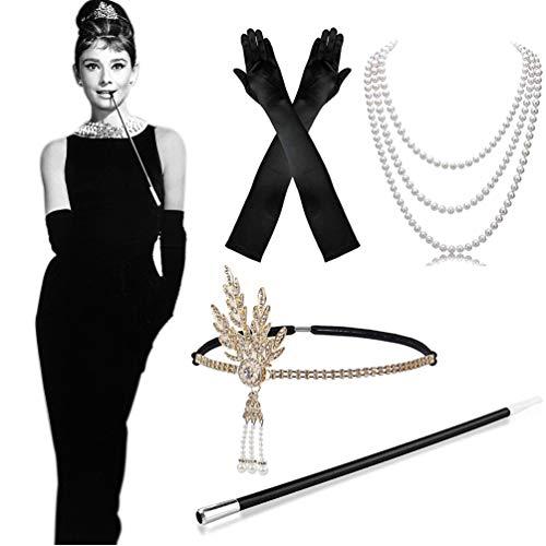 MMTX 1920s Kostüm Damen Flapper Accessoires Set 20er Jahre Halloween Kostümzubehör Kleid Große Gatsby Zubehör Retro Stil Stirnband Inspiriert Accessoires