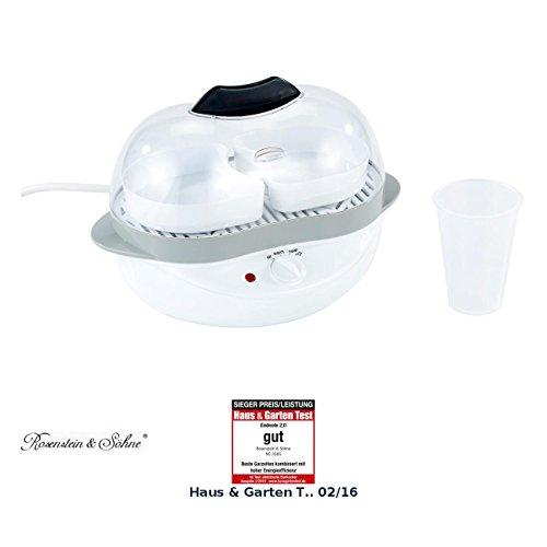Rosenstein & Söhne Elektrischer Eierkocher: 2in1-Eierkocher mit Warmhalte-Funktion, 400 Watt, 6 Eier oder Rührei (Eierkocher Einsatz)