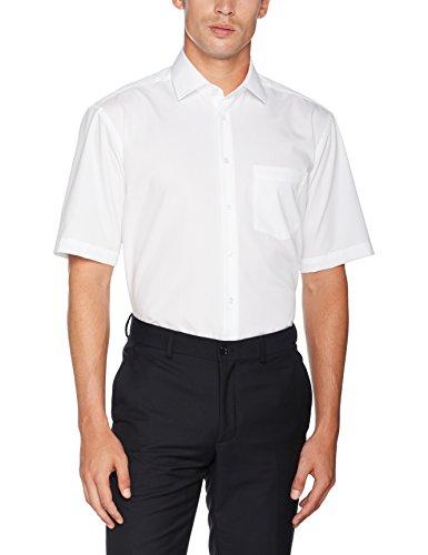 Seidensticker Herren Business Hemd Comfort Fit – Bügelfreies, legeres Hemd mit Kent-Kragen & Brusttasche – Kurzarm –100% Baumwolle ,Weiß (Weiß 01) ,44