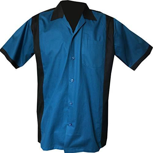 Rockabilly Fashions Herren Beiläufig Hemd zugeknöpft der 1950er Jahre 1960er Jahre Bowling Retro Vintages Hemd der Männer - XXX-Groß,Schwarz; Blau