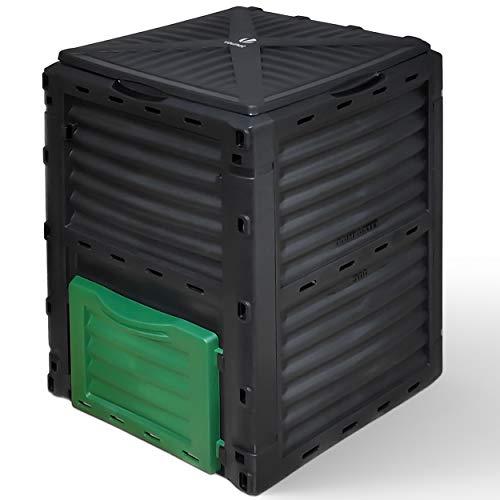 VOUNOT Komposter aus Kunststoff für Garten, 300L Thermokomposter Wetterfest, Schwarz