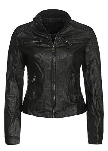 Malito Damen Jacke | Kunstleder Jacke | Jacke mit Zipper | lässige Bikerjacke - Sakko - Jackett 5179 (schwarz, M)