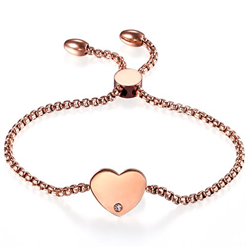JewelryWe Schmuck Damen Armband, Edelstahl Strass Hochglanz Poliert Herz Verstellbar Charm Armkette Armreif, Rosegold