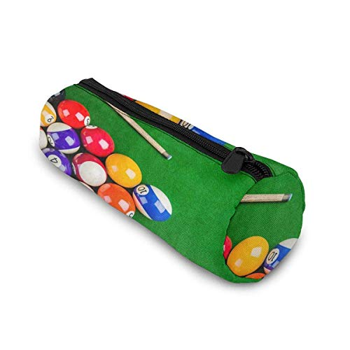 Yuanmeiju Billiard Balls with Billiard Cue Snooker Pool Game Cylinder Mäppchen Holder Zipper Pen Bag Pouch Students Stationery Cosmetic Bag