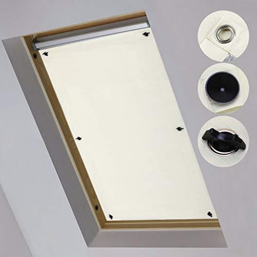 iKINLO Dachfensterrollo Thermo Rollos Sonnenschutz – ohne Bohren (Beige, B57cm x H100cm) für Fenster & Tür Verdunkelungs Rollo Passende Velux