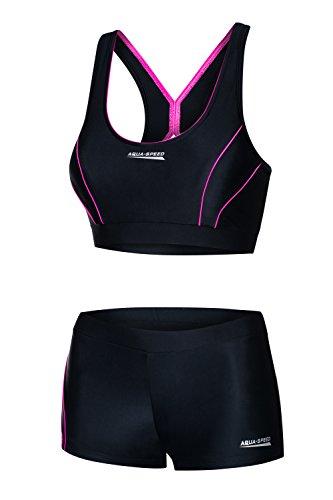 Aqua Speed Damen Bikini Set | Sportbikini | Zweiteiler | Bikinis Sport | 2-Piece Swimsuit Women | Bademode für Frauen Mädchen | Schwimmbekleidung schwarz-rosa | Gr. 36, 19 Black - Pink | Fiona