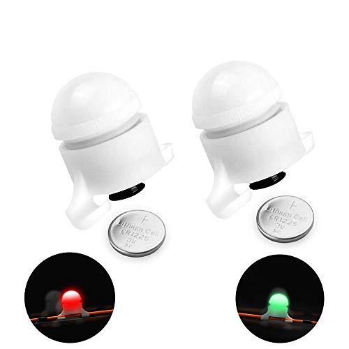 Mein HERZ 2 STK Bissanzeiger, Elektronische Bissanzeige mit Bewegungssensor, Nacht Angeln LED Ruten Nachtlicht Bissanzeiger Clip auf Fischbissalarm
