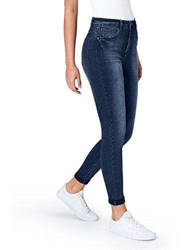 find. Damen Skinny Jeans mit mittlerem Bund, Blau (Mid Indigo), XXX-Large (38W / 32L)