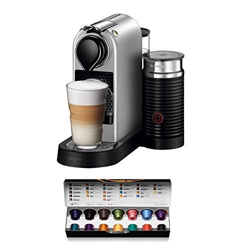 Krups Nespresso CitiZ und Milk XN760B Kaffeekapselmaschine (mit Aeroccino, Thermoblock-Heizsystem, 1 Liter Wasserbehälter, 19 bar) silber