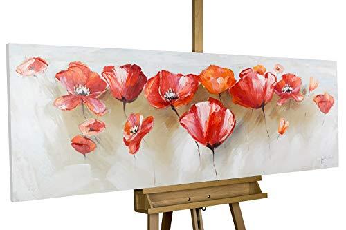 KunstLoft® Acryl Gemälde 'Liebeserklärung im Mohnblumenfeld' 150x50cm   original handgemalte Leinwand Bilder XXL   Mohnfeld XXL Rot   Wandbild Acrylbild Moderne Kunst einteilig mit Rahmen