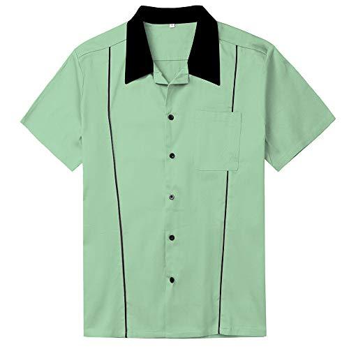 Aihifly Männershirts Lockere Einreiher Revers der Männer Hemd 50er Retro Bowling Casual Dress Hemd Freizeithemden (Color : Mint Green, Size : XL)