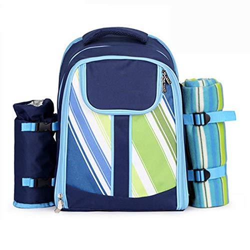 Picknickrucksack für 4 Personen, Korb mit Kühltasche Integriertem Kühlfach mit Picknickmatte Kann Geschirr Aufnehmen für Camping im Freien,Dark Blue