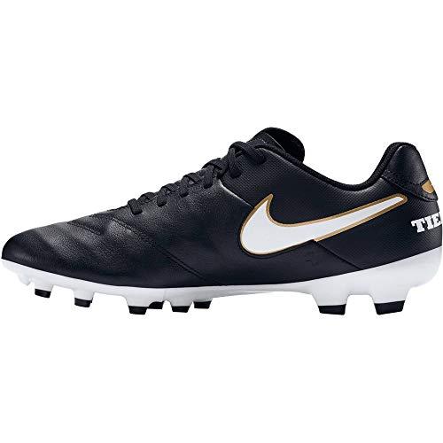 Nike Herren Tiempo Genio Il Leather FG Fußballschuhe, Grau, UK, Schwarz (Black/White-Metallic Gold), 38.5