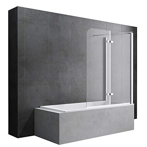 Badewannenfaltwand Cortona113 Wandanschlag rechts in Klarglas 6mm ESG-Glas Nano-Versiegelung, BTH: 70x120x140cm