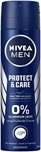 NIVEA MEN Protect & Care Deo Spray (150 ml), Deo ohne Aluminiumsalze brennt nicht nach der Rasur, Deodorant mit 48h Schutz pflegt die Haut