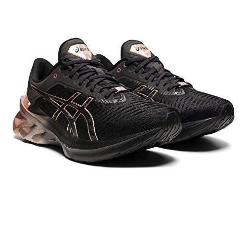 ASICS Damen Novablast Platinum Road Running Shoe, Black/Rose Gold, 39.5 EU
