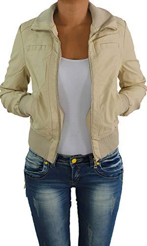 Sotala Damen Lederjacke Kunstlederjacke Leder Jacke Damenjacke Jacket Bikerjacke S - 4XL Beige XL