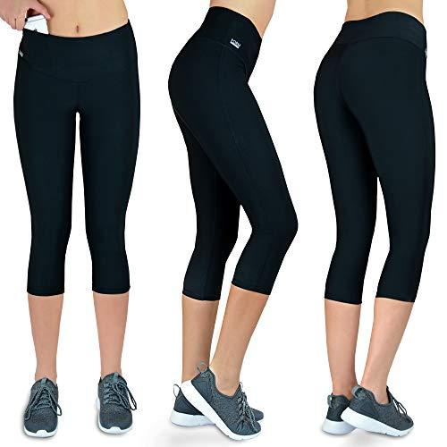 Sport-Leggings 3/4 Damen mit Handytasche | Capri Fitness Freizeit Leggings schwarz Laufhose Yoga Jogging high Waist Muster Dreiviertel Tasche (schwarz, M)