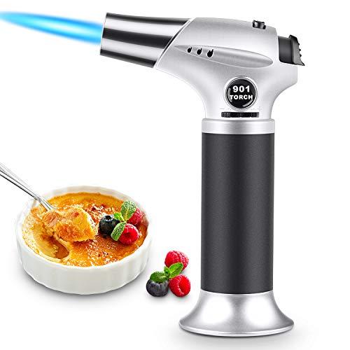 Magicfun Küchenbrenne Flambierbrenner, Nachfüllbar Butan Gasbrenner mit Sicherheitsschloss für die Küche Home Creme Brulee Gebäck Desserts Camping (Butan Inbegriffen Nicht)