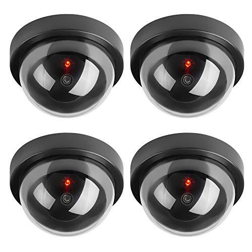 TOROTON Runden Dummy Kamera CCTV Überwachung Kamera Sicherheitskamera mit Blinkender LED Licht - 4 Stücke (Schwarz)