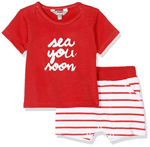 Kanz Unisex Baby Set 2tlg. (T-Shirt 1/4 Arm + Shorts) Bekleidungsset, Rot (Flame Scarlet Red 2550), 74