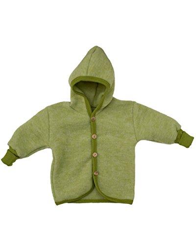 Cosilana Baby Jäckchen mit Kapuze aus weichem Wollfleece, 60% Schurwolle kbT, 40% Baumwolle KBA (98/104, Lindengrün-Melange)