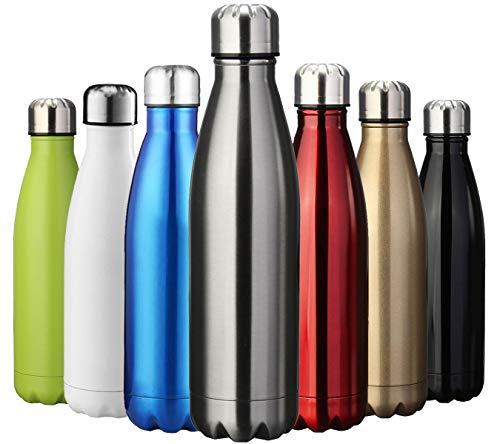 ZUSERIS Thermobecher Doppelwandige Trinkflasche Edelstahl Sportflasche Wasserflasche Camping Reisebecher Thermosflasche Haelt Getraenke 12 Stunden Kalt & 24 Heiß BPA Frei - (Silber, 1000ml-34oz)