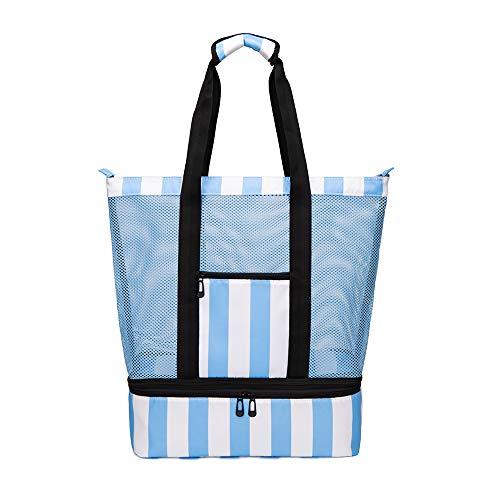 Strandtasche Groß mit Kühlfach Reißverschluss Sommer Tasche für Strand Urlaub Reise Picknick Shopper (Blau/Weiß) von Bertasche