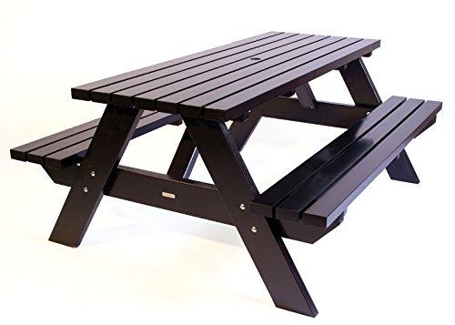 Picknicktisch schwarz Curaçao 180 cm, Holz, Picknickbank schwarz, Trend aus Holland