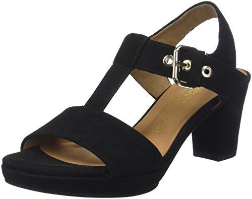 Gabor Shoes Damen Comfort Fashion Riemchensandalen, Schwarz (Schwarz (SC.Gold), 37.5 EU