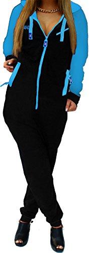 RMK Damen Jogging-Anzug Karneval Jogger Einteiler Jogging Training Overall Jumpsuit Schwarz-Türkis, XS