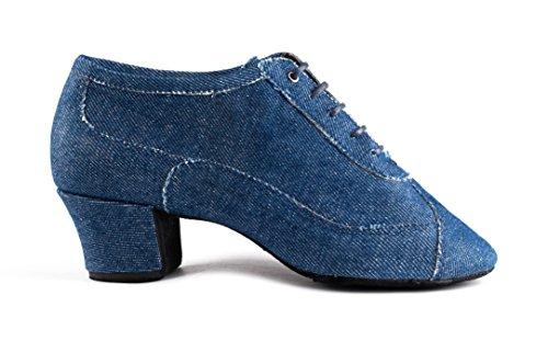 PortDance Damen Tanzschuhe/Trainerschuhe PD704 - Denim Blau - 4 cm Cuban [EUR 37]
